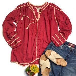 Sundance Red Embroidered Boho Peasant Blouse Tunic